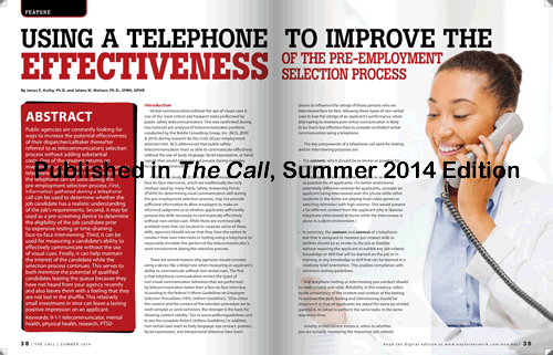 Using a Telephone to Improve the Effectiveness of the Pre-Employment Selection Process